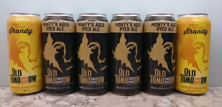 Monty's Aged Ryed Ale flanked by two Honey Ginger Shandy's