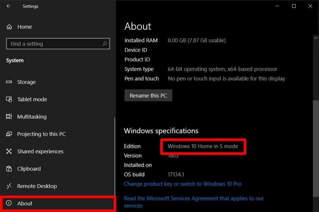 Windows 10 in S Mode Settings